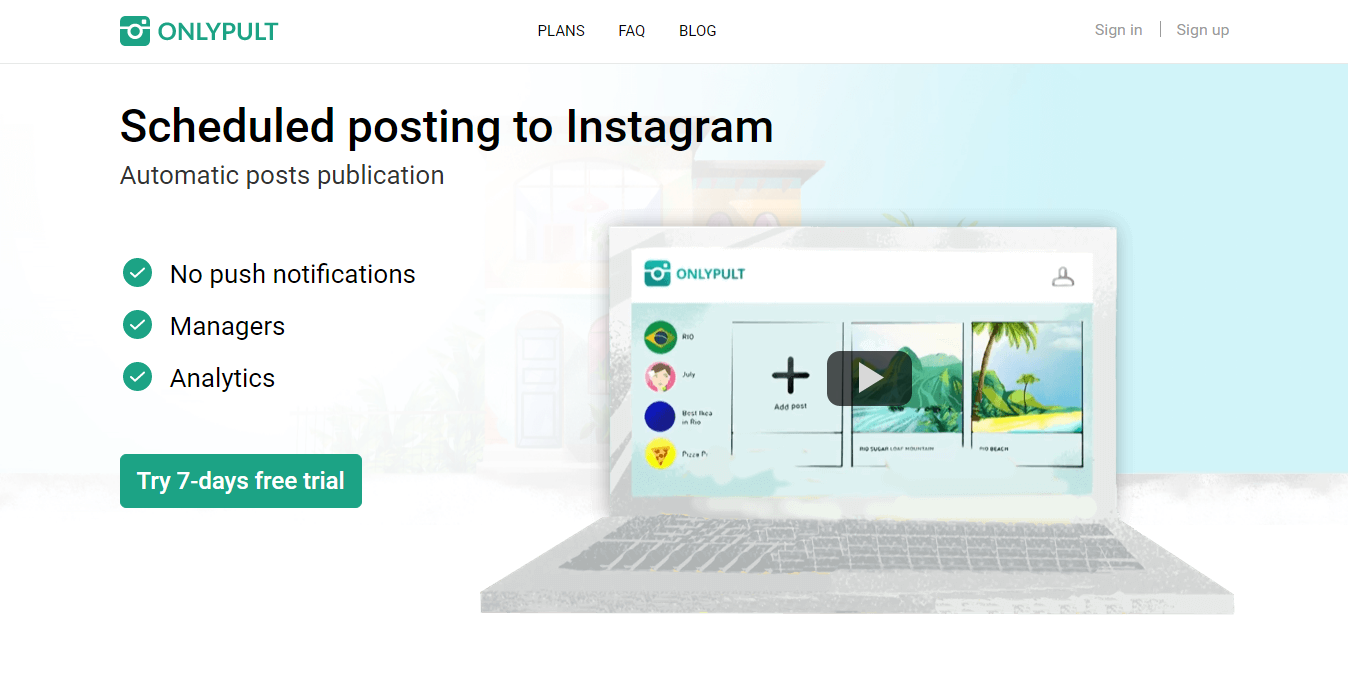 Onlypult - To Schedule Instagram post from Desktop