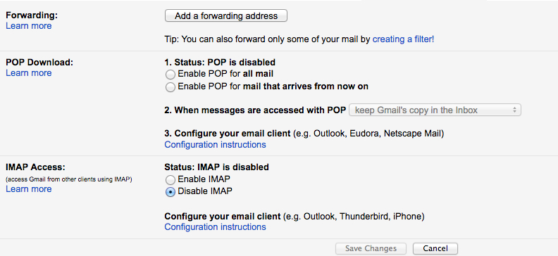 How to enable IMAP/POP3/SMTP for Google Accounts