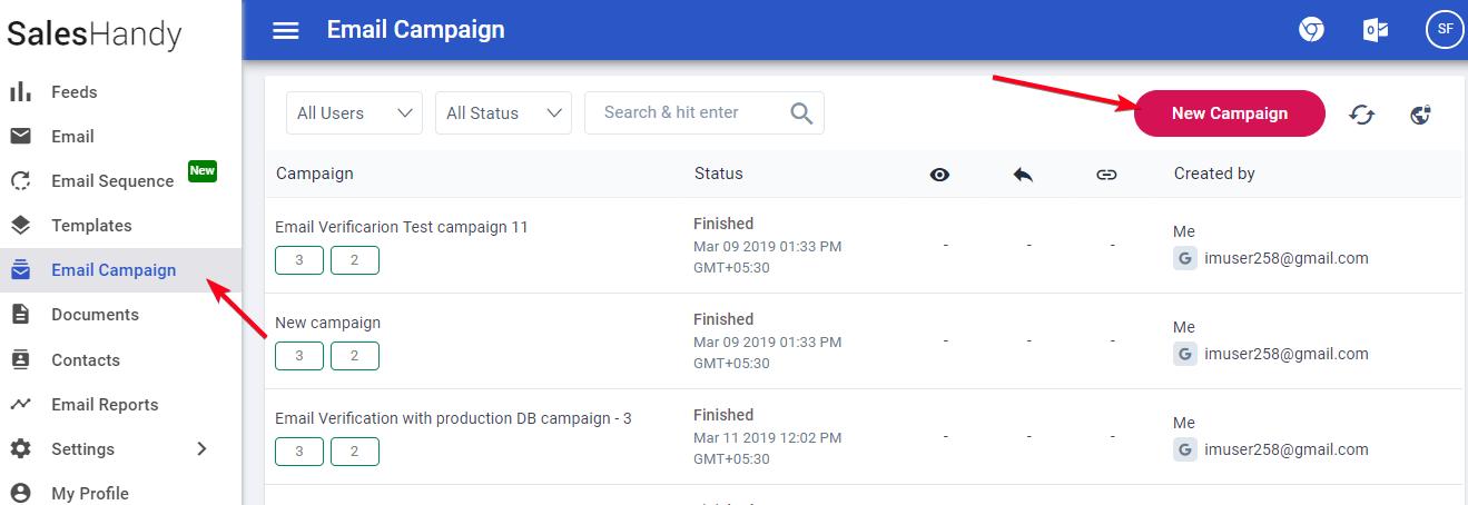 Create new mail merge camapign