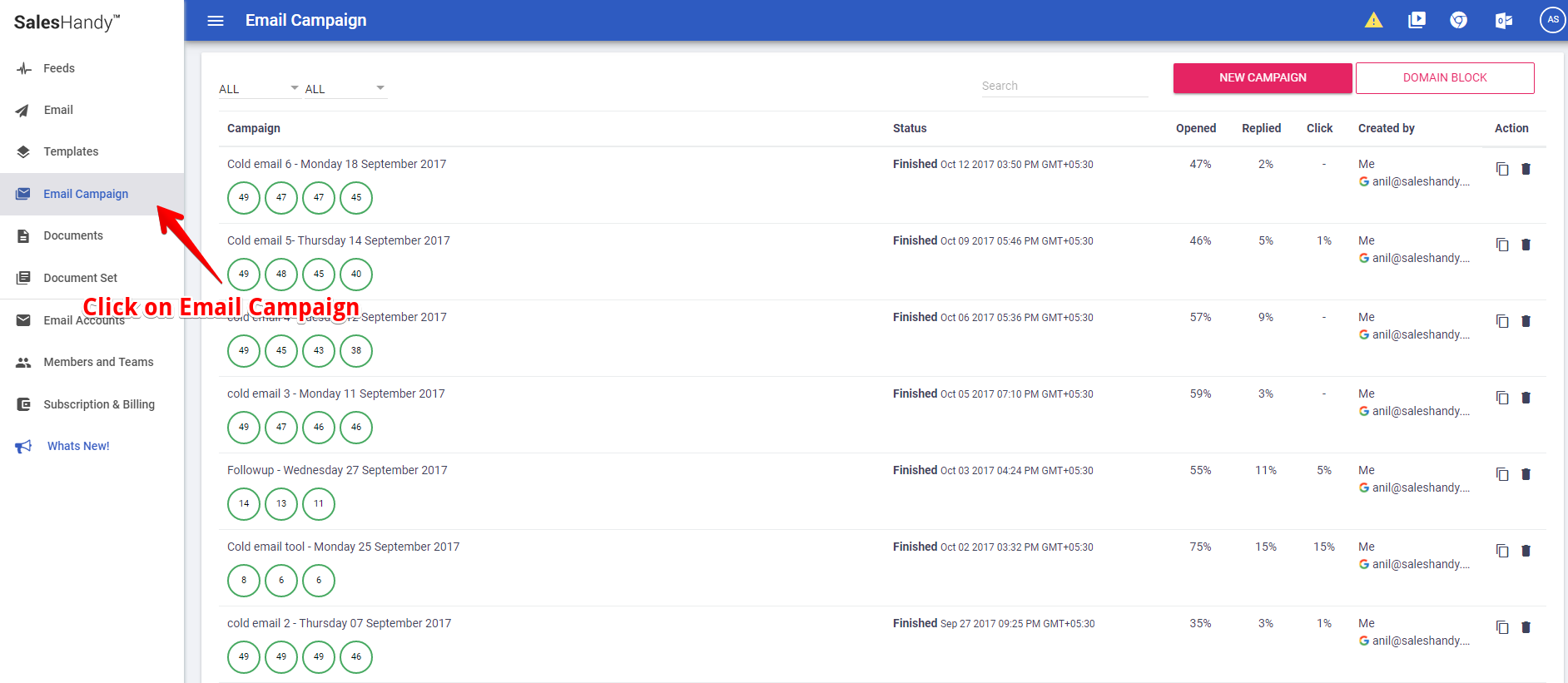 Click on Mail merge camapign