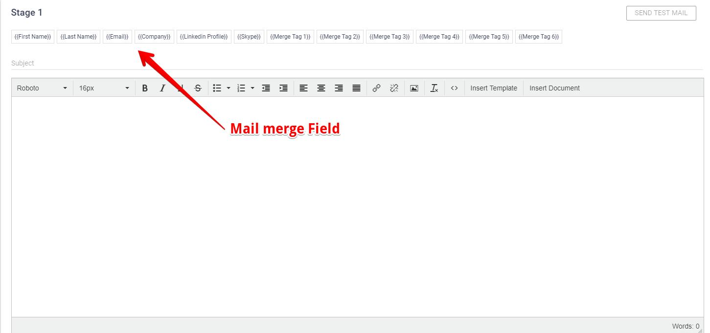 Mail merge fields