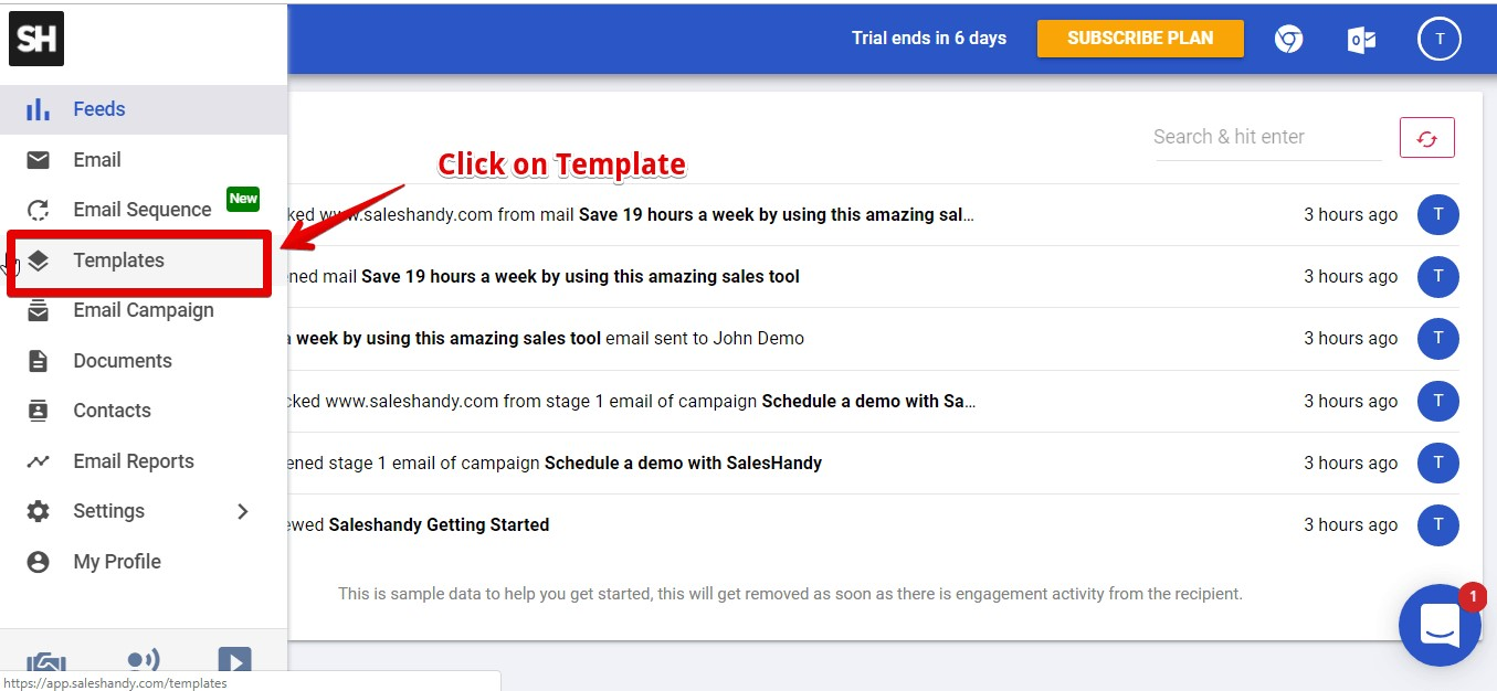 Make email template for outlook in SalesHandy