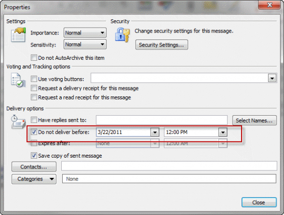 Outlook delay delivery 12
