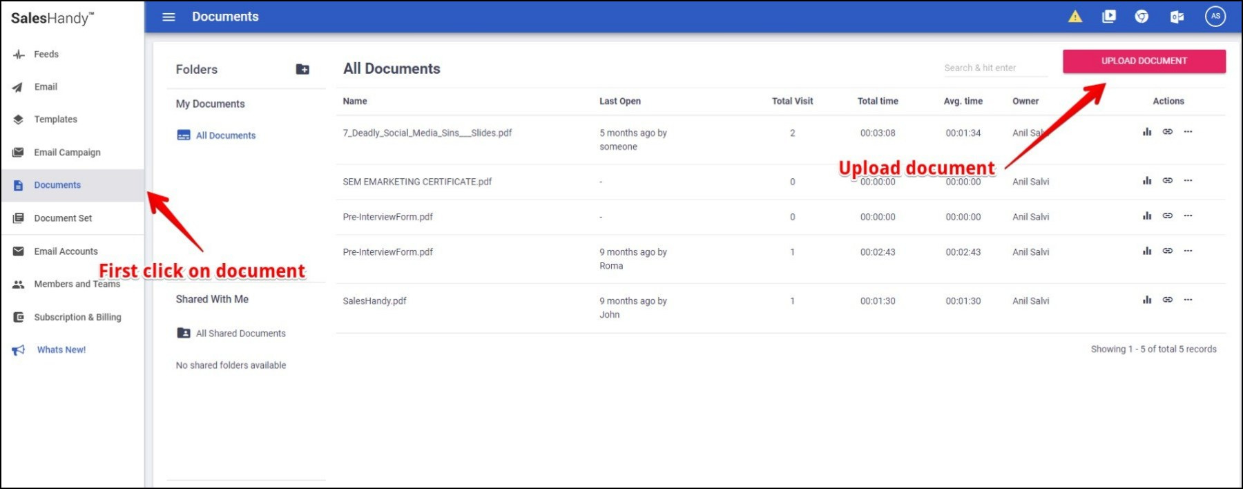 Upload document in SalesHandy App to increase Gmail's attachment limit
