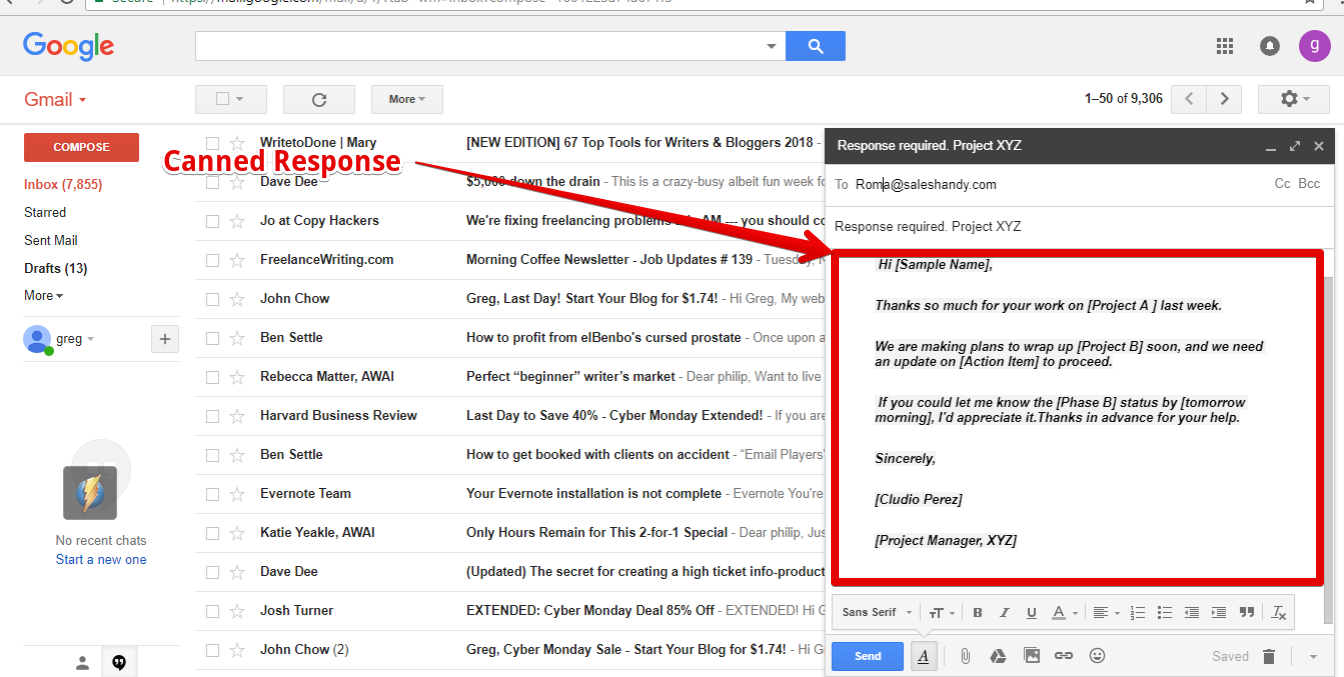 How to setup canned response in gmail 7