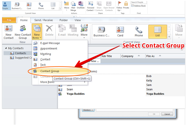 How to create distribution list in outlook
