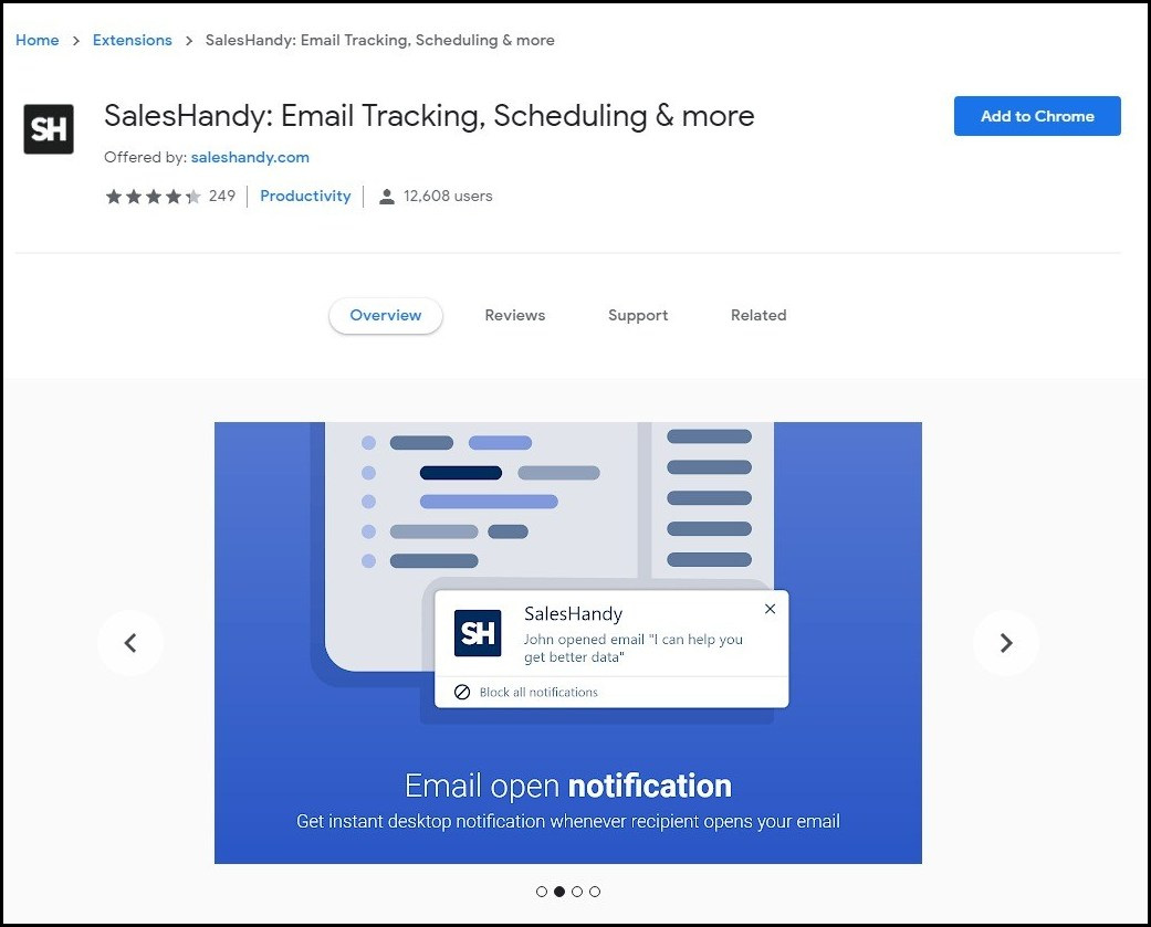 Download SalesHandy Email tracking chrome extension