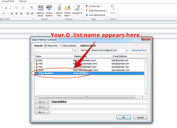How to create distribution list in outlook 7