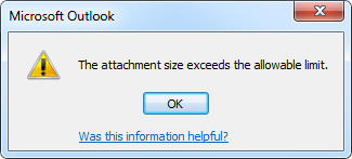 Outlook attachment limit size 1