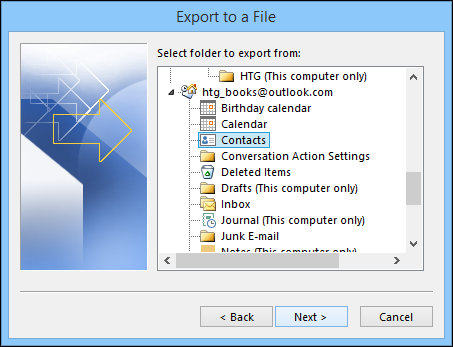 How to export contacts from outlook 3