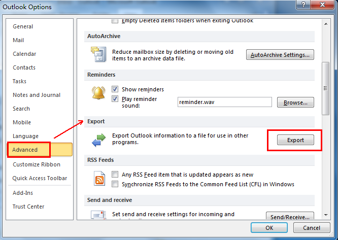 How to export contacts from outlook 7