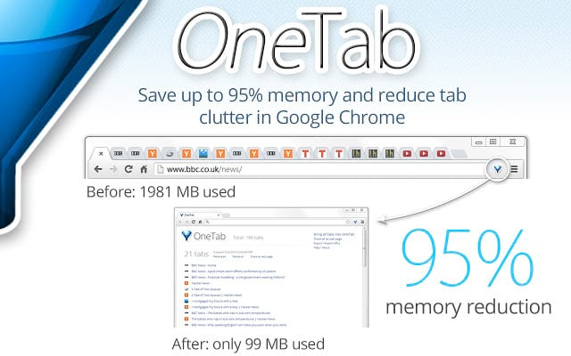 One Tab chrome extension