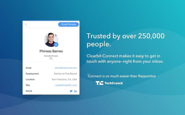 Clearbit connect Copy chrome extension