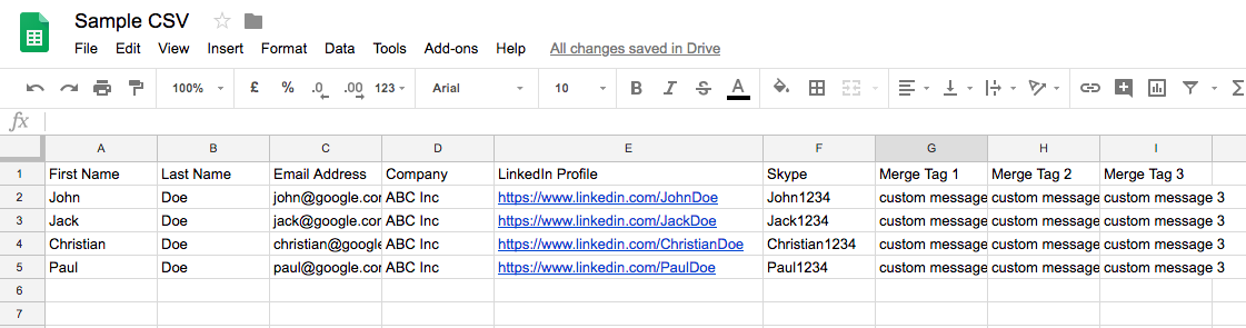 CSV for sending email campaigns