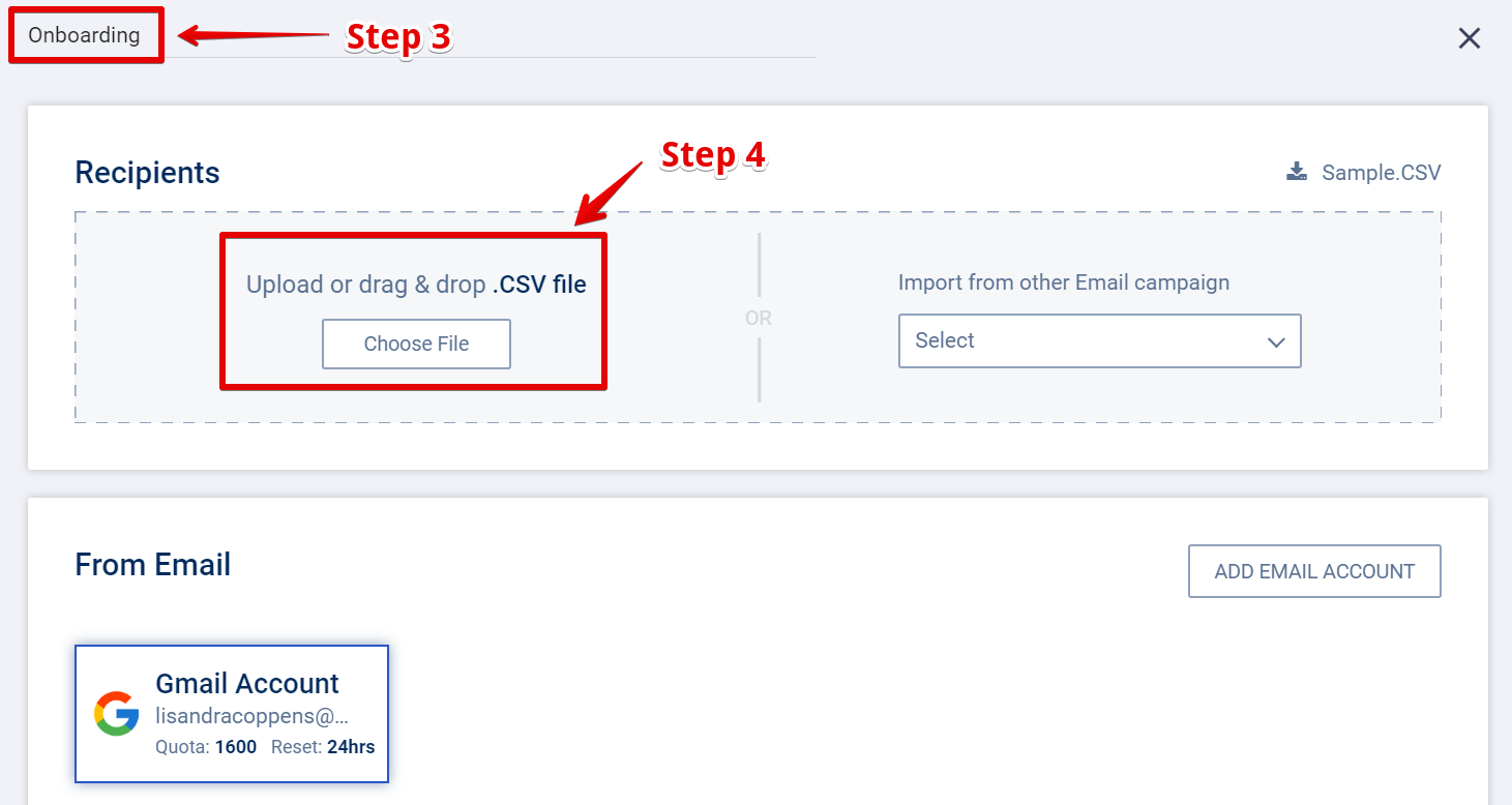 Upload CSV in SalesHandy