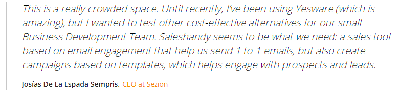 Saleshandy cold email software customer review