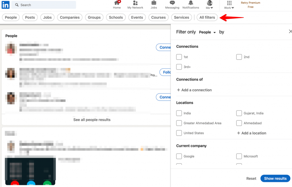 social selling using advanced filters
